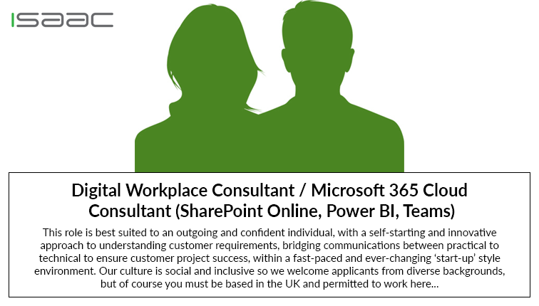 Role Vacancy – Digital Workplace Consultant / Microsoft 365 Cloud Consultant